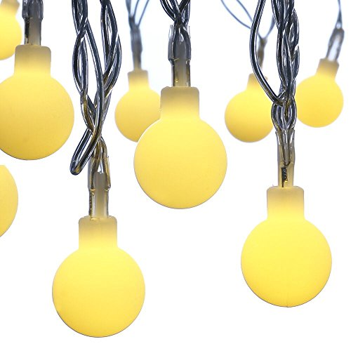 Icicle Sphere Lights, 33ft/10m 100 LED String Lights, Safe Low Voltage DC, String Light Bulbs for Home, Patio, Wedding, Xmas, Holiday Celebration Trimming (Warm White)