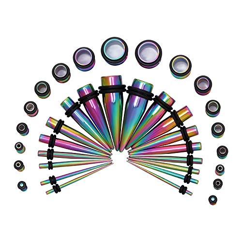 HuayoRong 14G-00G 36 pcs Ear Gauges Stretching Kit Tapers Plugs Eyelets Implant Grade Steel(Rainbow)