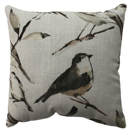 Pillow Perfect Bird Watcher Throw Pillow, 16.5-Inch, Charcoa