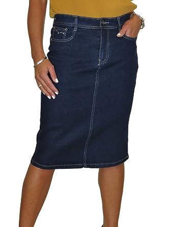 6c88700c809a ICE Stretch Jeans Rock, Indigo Blau  Amazon.de  Bekleidung