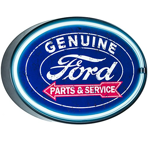 Genuine Ford Parts and Service  - Reproduction Vintage Advertising Oval Sign - Battery Powered LED Neon Style Light - 16 x 11 x 2 Inches