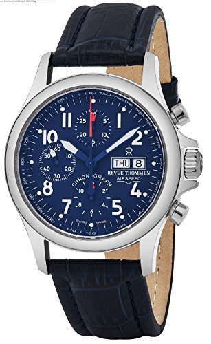 Revue Thommen Air Speed Pilot 42 MM Mens Blue Dial Blue Leather Automatic Chronograph Day Date Swiss Watch 17081.6539