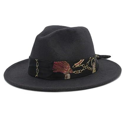BAOJU Home Sombrero - Mujer Hombre Lana Sombrero Fedora con Cinta de Cloche  Invierno otoño ala 1bb2dc37b05