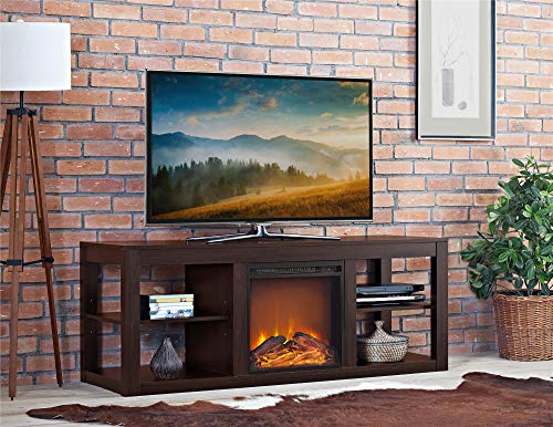 Cheap Ameriwood Home Parsons Electric Fireplace TV Stand and Deluxe Desk Bundle Espresso Black Friday & Cyber Monday 2019