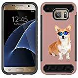 [NickyPrints] Hybrid Case For Galaxy S7 - Corgi Dog Design Printed with Embossed Effect - Unique Dual Layer Full Protection  Shockproof Galaxy S7  Rose Gold Case / Cover