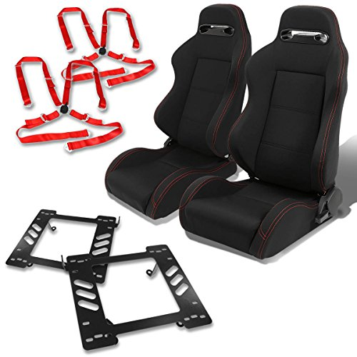 Jeep Wrangler TJ Pair of Type-R Racing Seats (Black)+Seat Bracket+4-Point Camlock Red (Jeep Racing Seats)