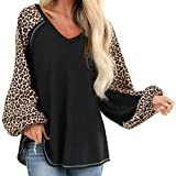 Women Plus Size Blouse Long Sleeve V-Neck Leopard