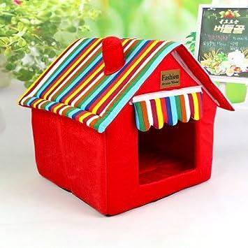 Bonita caseta para perros y gatos. Plegable. Alfombra adecuada para las cuatro estaciones y lavable. Caseta plegable: Amazon.es: Productos para mascotas