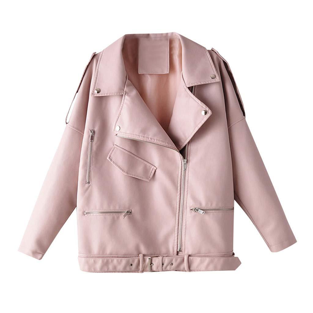 Dermanony Women's Leather Jacket Winter Fashion Long Sleeve Pure Pocket Zipper Coat Leather Moto Biker Jacket Outwear Pink by Dermanony _Coat