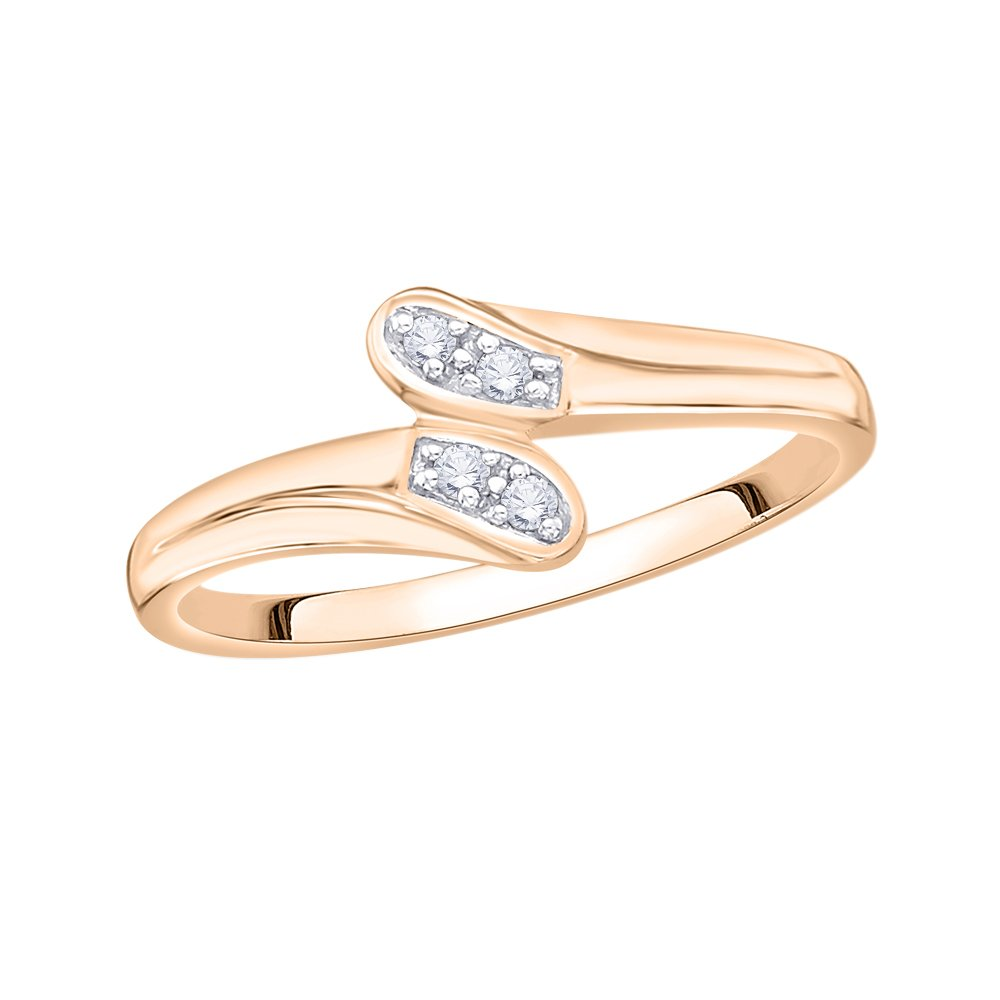 Size-3.25 G-H,I2-I3 Diamond Wedding Band in 14K Pink Gold 1//20 cttw,