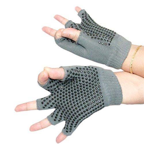 Kylin Express Fingerless Gloves, Non Slip Yoga Gloves for Women with Black Dots, Gray