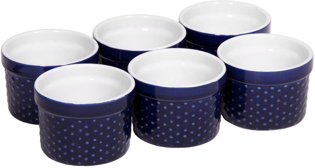 Home Essentials Set of 6 Mini Stoneware Hobnail 4 oz Ramekins - Textured Porcelain, Mousse, Creme Brulee, Custard Cups, Baking, Souffles, Quiche Cups, Cobalt - 4 Inches by Home Essentials