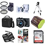 Canon EOS M100 Mirrorless Camera EF-M 15-45mm f/3.5-6.3 IS STM Lens, Black - Bundle 32GB SDHC Card, Camera Case, 49mm Filter kit, Spare Battery. Tripod, Software Package More