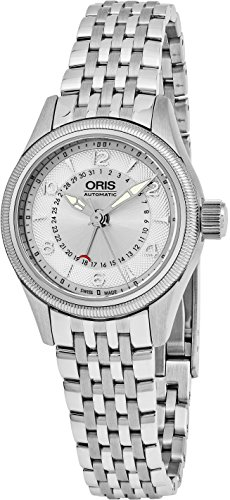 Oris Big Crown 28 MM Womens Silver Face Date Swiss Automatic Stainless Steel Watch 59476804061MB