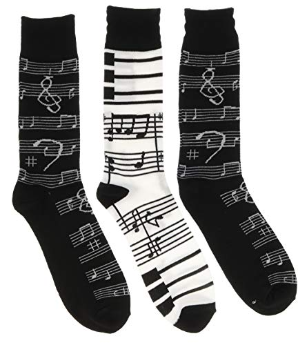 Everbright Men's Music Theme Crew Socks, (3 Pr), One Size, (Two Black, One - Music Socks Note