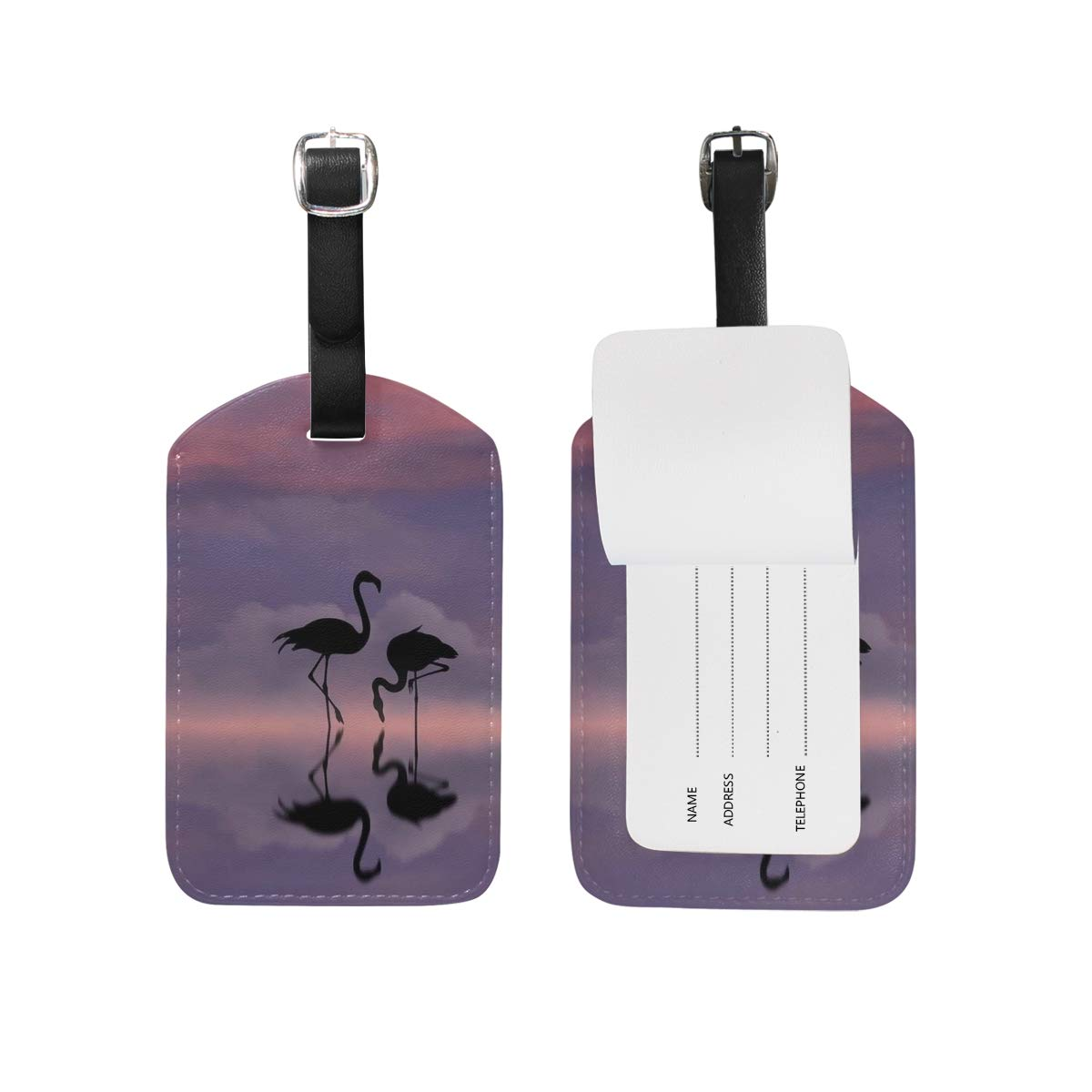 Aibileen Luggage Tags Tropical Flamingo Romantic Leather Travel Accessories Valentines Day Gift