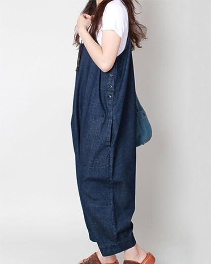 ShiFan Donna Tuta Jumpsuit Salopette Vestito Jeans Tute Intere Larghi Harem Casual Eleganti