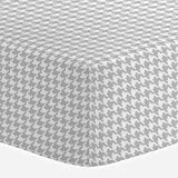 Carousel Designs French Gray Houndstooth Crib Sheet - Organic 100% Cotton Fitted Crib Sheet - Made in the USA