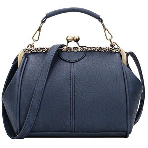 Abuyall Women Small Retro Kiss Lock Pu Leather Vintage Purse Handbag Totes Bag C ()