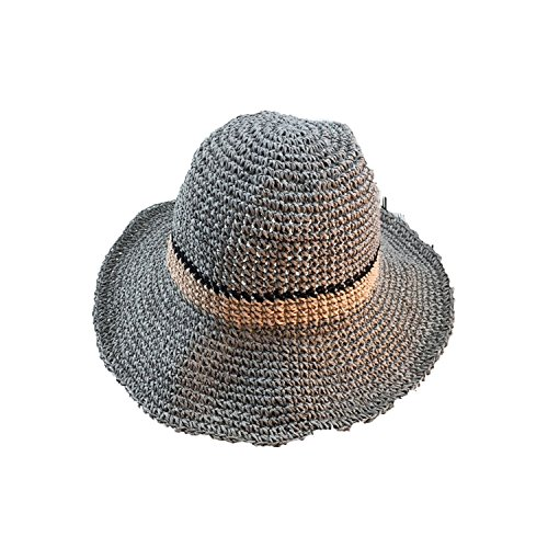 Summer Female Hat Foldable Straw Fisherman Hat Korea Summer Sun Visor Straw Hat,Gray,M56-58cm