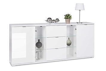 Lifestyle4living Sideboard In Weiss Hochglanz Chromatierte