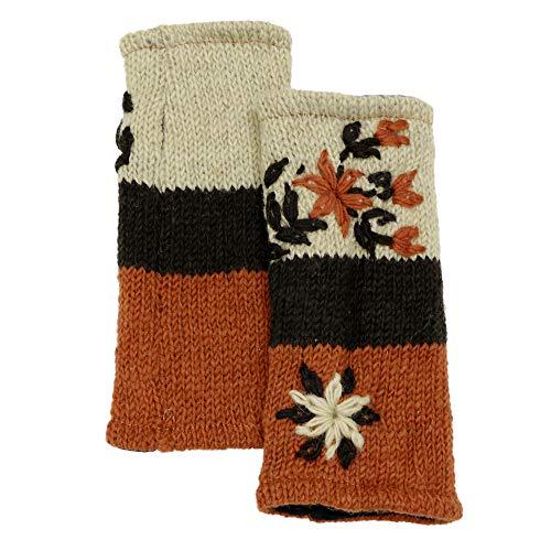 CFrost Women's Hand Knit Winter Flower Fingerless Arm Warmer Gloves by C Frost (Image #2)