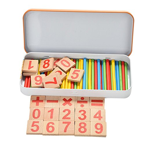 Baby Kids Montessori Toy with Iron Box Child Educational Math Toys Wooden Toys Game Digital Stick ()
