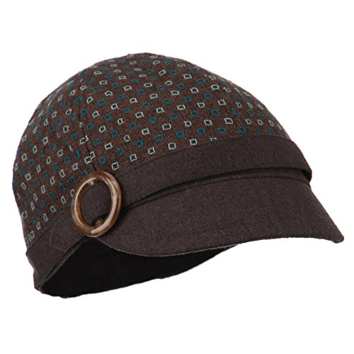 Muffy 6 Panel Round Buckle Cabbie Cap - Blue OSFM