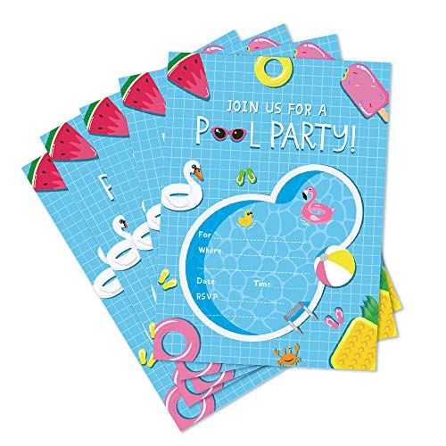 (CC HOME Pool Party Invitations with Envelopes (20 Pack) - Summer Pool Party Bash, Splash Pad, Water Park Invites-Kids Birthday Invitations for Boys or Girls Birthday Party,Baby Shower Decorations Supplies Favor)