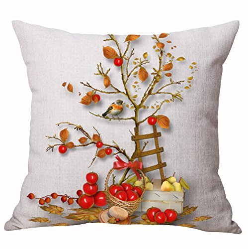 Autumn Happy Fall Y'all Harvest Pumpkin Maple Fall Leaves Apple Pear Bird Tree Cotton Linen Throw Pillow Cover Cushion Case Home Chair Office Decorative Square 18 X 18 inches ()