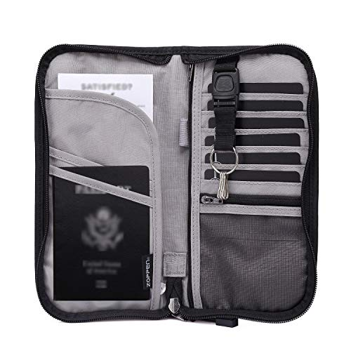 Zoppen RFID Travel Passport Wallet & Documents Organizer Zipper Case with Removable Wristlet Strap, Black (Best Way To Ship Iphone Internationally)