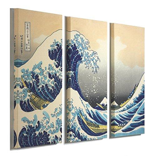 3 Panel Canvas Print Wall Art - The Great Wave Off Kanagawa by Katsushika Hokusai - Giclee Print Stretched Canvas 48