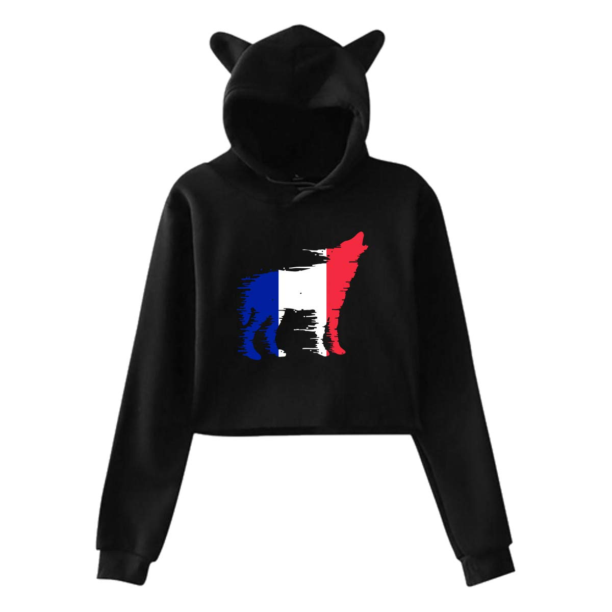 Girls Cute Cat Ear Hoodie Sweatshirts France Flag Wolf Midriff-Baring Pullover Tops Blouse