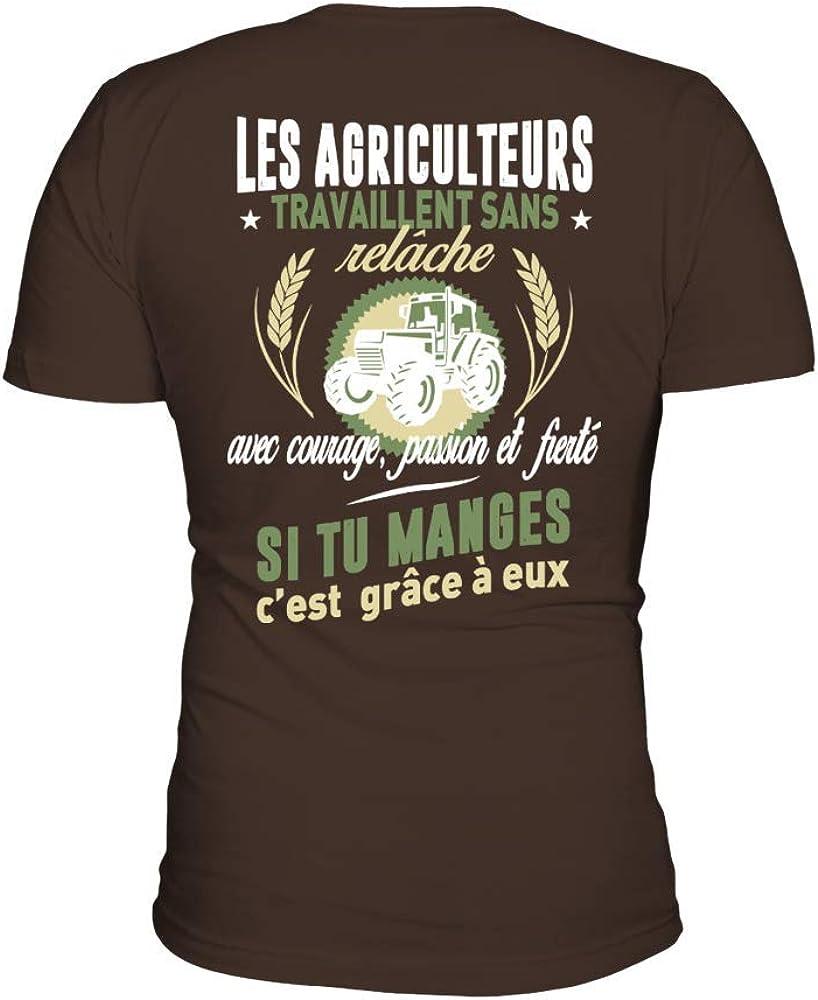 teezily T-Shirt Les Agriculteurs Travaillent sans Rel/âche Et Si Tu Manges Cest Gr/âce /À Eux Homme