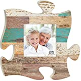 Teal Multicolor Distressed Wood Look 12 x 12 Wall Hanging Wood Puzzle Piece Photo Frame