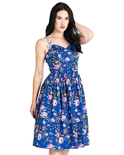(Hell Bunny Women's Violetta Rose Print Pinup 50's Style Sleeveless A-Line Dress Blue XS)
