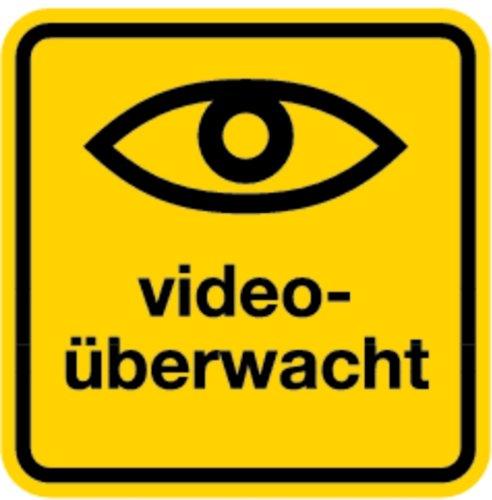 Aufkleber Videoüberwacht + Symbol Auge 100x100mm