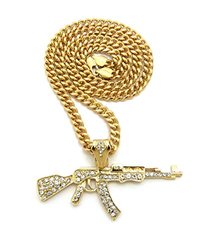 [Hip Hop Iced Out AK47 Gun Pendant 6mm 24