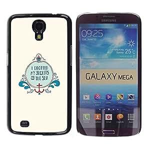 Be Good Phone Accessory // Dura Cáscara cubierta Protectora Caso Carcasa Funda de Protección para Samsung Galaxy Mega 6.3 I9200 SGH-i527 // Sea Minimalist Ocean Beige Anchor Boat