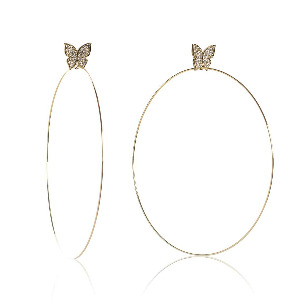 Evelyn Signature 4'' Gold Plated Hoop Earrings