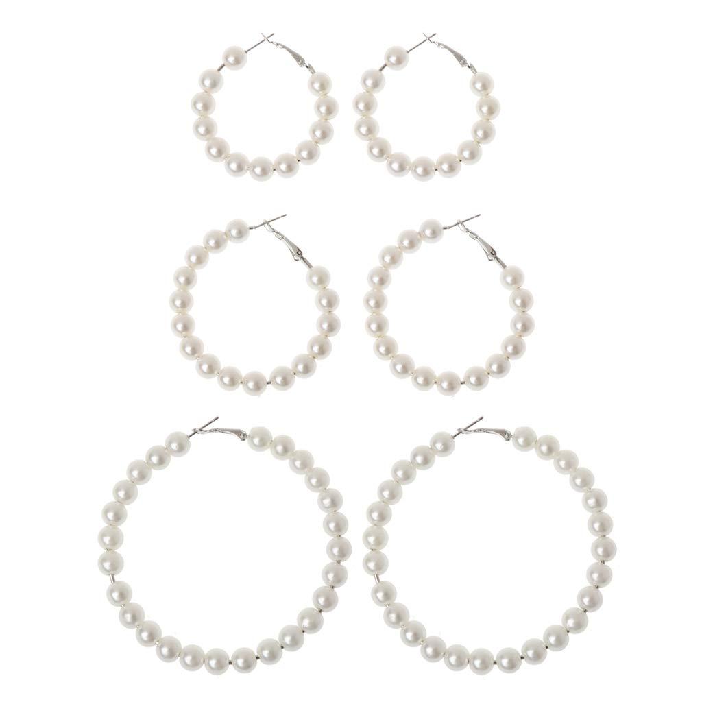 Weishazi Boucles doreilles cr/éoles /él/égantes avec perles blanches 3
