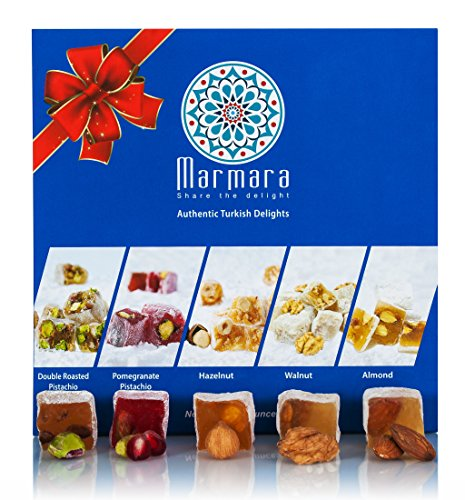 Turkish Delight Candy By Marmara with Double Roasted Pistachio Pomegranate Walnuts Hazelnut Almond Mix Variety Assorted Nuts Gourmet Holiday Gift Box Candy Dessert Confection 1 Lb - 450 - Flavors Extract Assortment