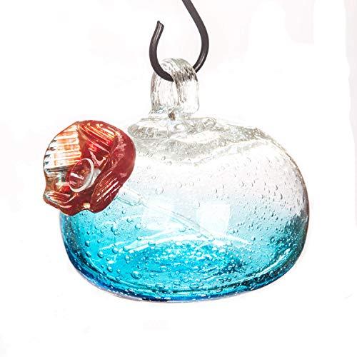 Glass Hanging Hummingbird Water Feeder for Outdoor Garden Decorative Birdfeeder, Blue ()