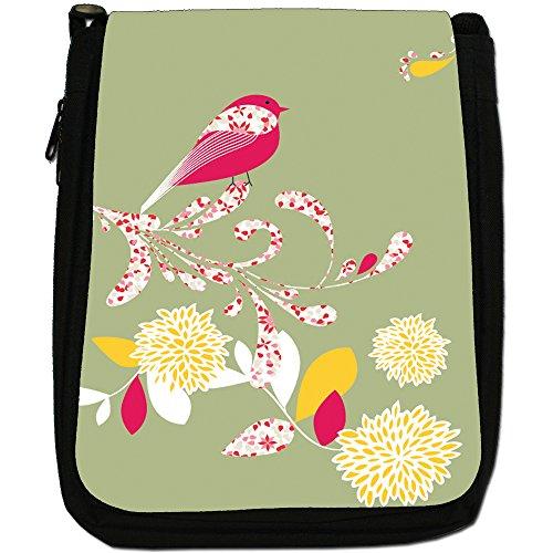 Bag Elegant Size Shoulder Bird Black On Canvas Green Flower Medium r0xUr1