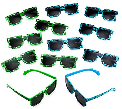 Katzco Pixel Sunglasses, Birthday Party Favors for Kid's and Adult's, 12 - Supplies Sunglasses Party