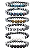 Bivei Hematite Magnetic Therapy Lava Stone Bead Essential Oil Diffuser Bracelet Pain Relief-Pack of 6