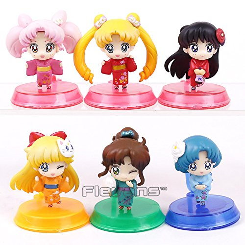 Sailor Moon 20th Anniversary Kimono Ver. PVC Figures Toys 6pcs/set Tsukino Usagi Chibi Usa Sailor Mars Mercury Venus Jupiter
