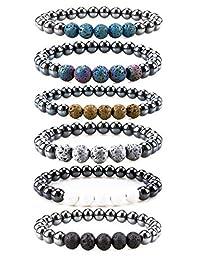 Bivei Hematite Magnetic Therapy Lava Stone Bead Essential Oil Diffuser Bracelet Pain Relief