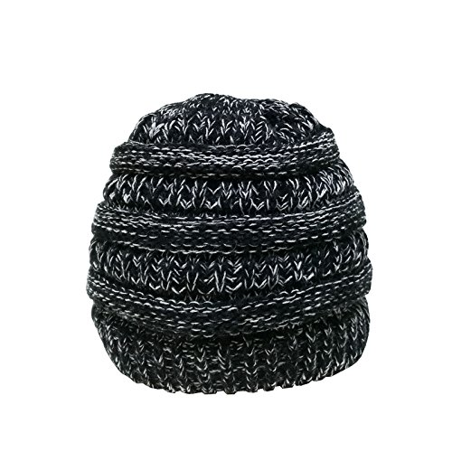 Torostra BeanieTail Soft Stretch Cable Knit Cap Womens Ponytail Messy Bun Beanie Ribbed Hat (Black and White) (Beanie Ribbed White)