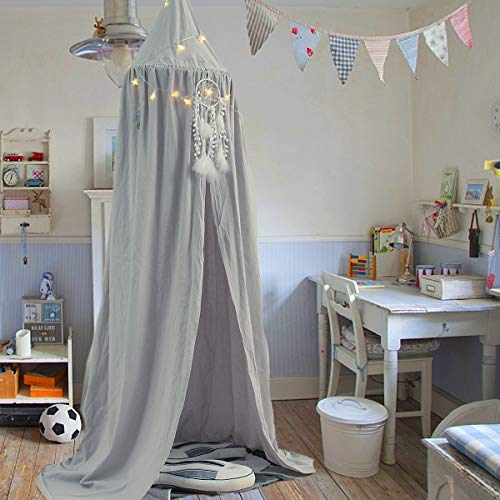 Jeteven Cotton Bed Canopy Bed Tent for Girls Bed, Play Tent Reading Nook Round Cotton Dome Curtains for Baby Kids Games House-Grey ()